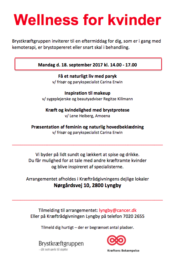 Wellness for kvinder i kemoterapi 18. september 2017